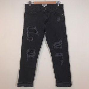 Current/Elliot black distressed boyfriend jeans